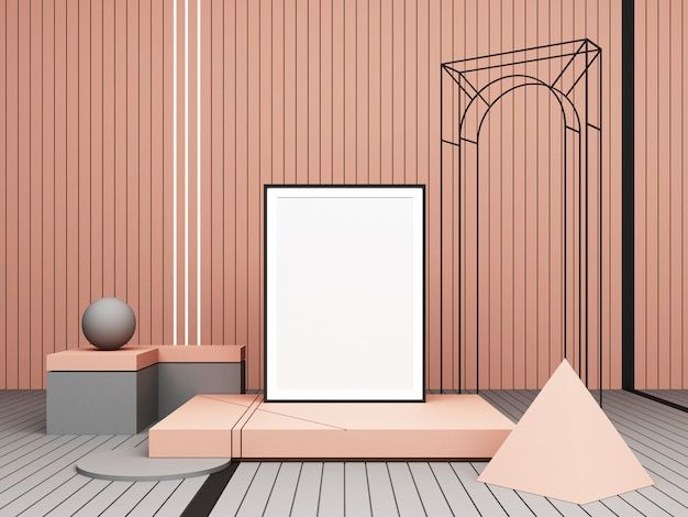 3d rendering abstract composition pastel geometric shapes on pink background for presentation