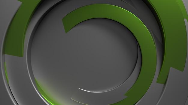 3d-рендеринг абстрактного концентрического фона. металлические трубки с произвольным вращением. геометрия круга образует с разным углом поворота. светоотражающий металлический материал.