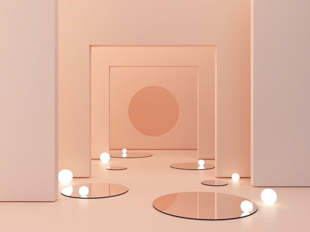 3d rendering, abstract cosmetic background. show a product. empty scene with cylinder mirror and spherical lights  in the floor.