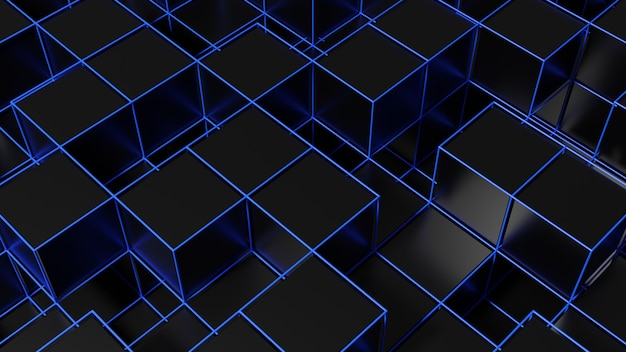 3d rendering of abstract cubes background