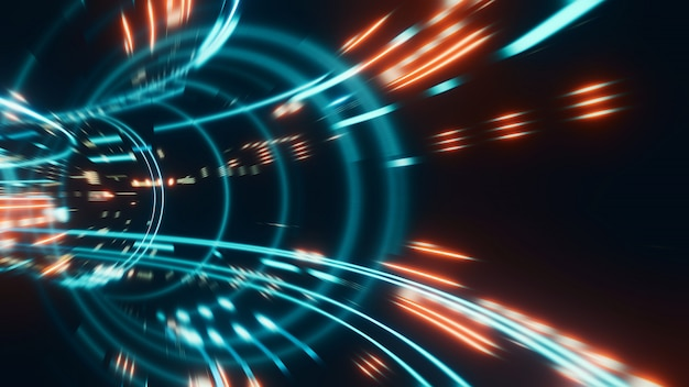 3d rendering of abstract fast moving stripe lines with glowing light flare. high speed motion blur.