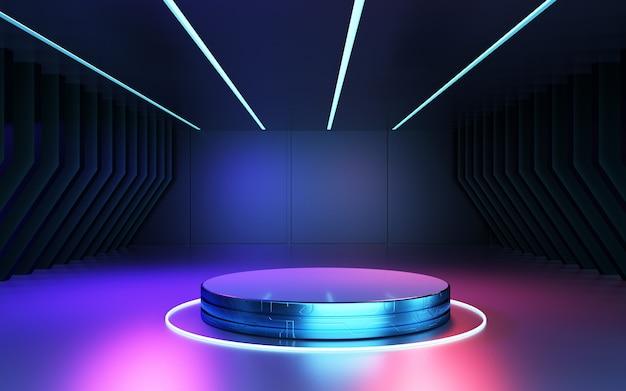 製品プレゼンテーションのための抽象的な未来的な背景の空白の表彰台ステージの3dレンダリング