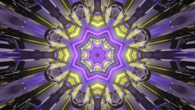 カラフルなネオンライトで照らされたトンネル内の幻想的な星型ゲートウェイの抽象的な未来的な背景をレンダリングする3d