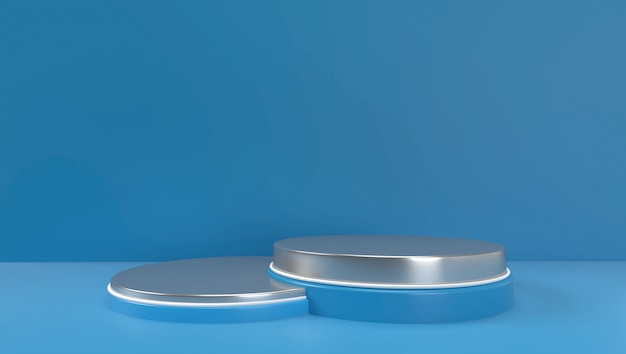 3d rendering of abstract geometric  background, scene, podium, stage, and display . blue and white color.