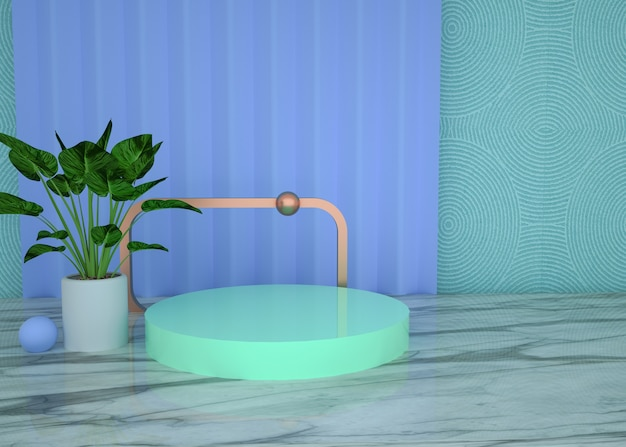 3d rendering of abstract geometric background with circle podium for product display