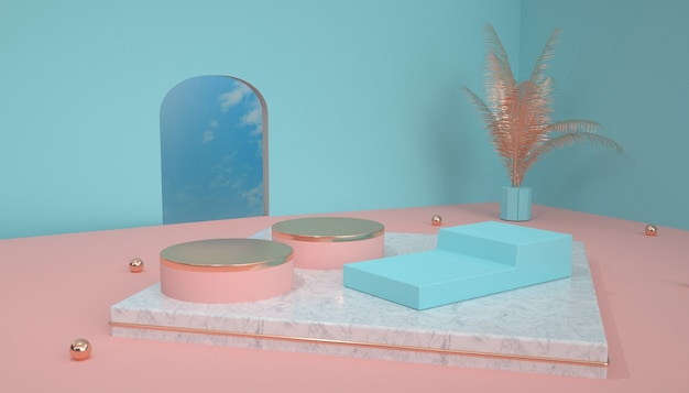 3d rendering of abstract geometric platform background for with round podium product display