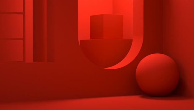 化粧品の表示のための抽象的な幾何学的な赤い背景の3dレンダリング