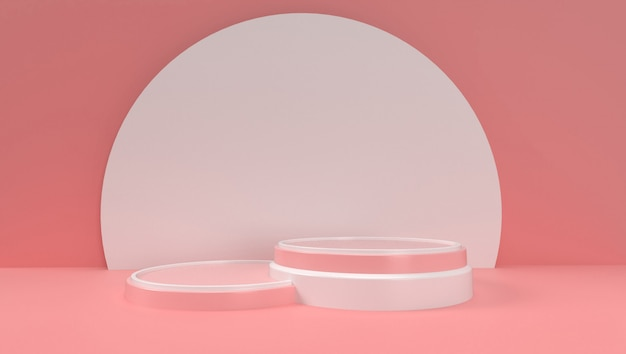 3d rendering of abstract geometric, scene, podium, stage and display  . with pink color tone.