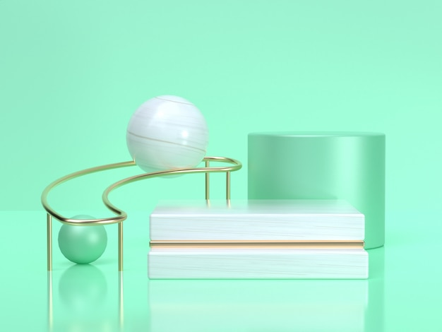 3d rendering abstract geometric shape cylinder green white sphere