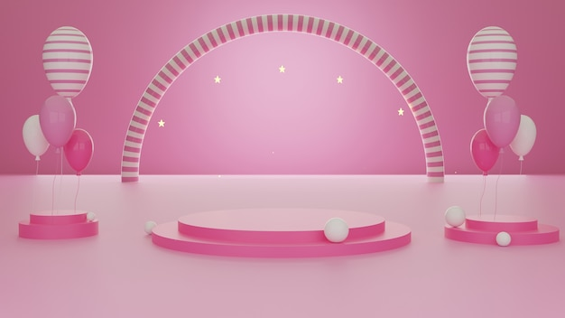 3d rendering abstract geometric shape pink color template minimal modern style wall background, for booth podium stage display table mock up composition with balloons.