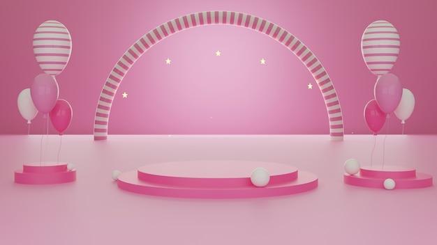 3d 렌더링 추상적 인 기하학적 모양 핑크 색상 템플릿 최소한의 현대적인 스타일 벽 배경, 부스 연단 무대 디스플레이 테이블 풍선 구성을 모의.