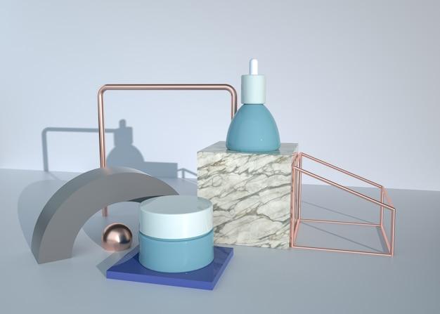 모형 디스플레이에 대한 화장품 크림과 함께 3d 렌더링 추상적 인 기하학적 모양