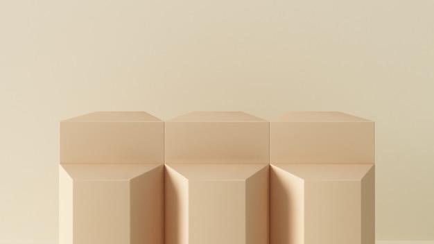 3dレンダリングの抽象的なジオメトリクリーム色の台座