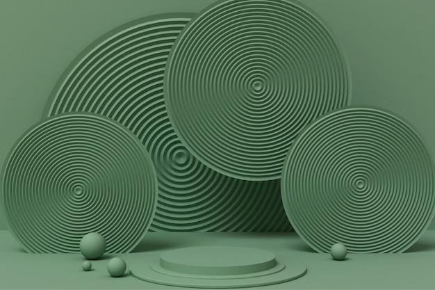 3dレンダリングの抽象的なジオメトリの緑色の台座