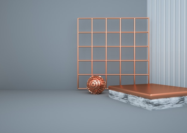 3d rendering of abstract gold pedestal for product display