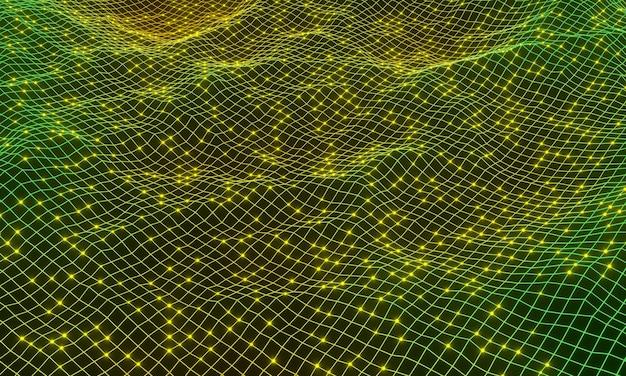 3d-рендеринг. абстрактный градиент топографической сетки местности