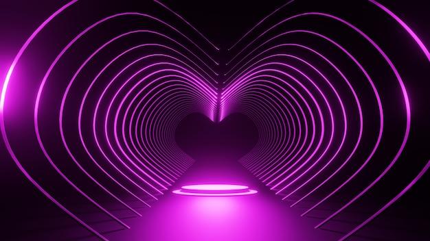 3dレンダリング抽象的なハート型の背景バレンタイン2月14日