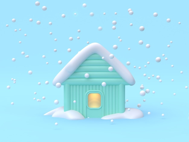 3d rendering abstract house-home winter nature concept scene cartoon style 3d rendering