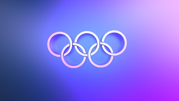 Rendering 3d di cerchi collegati astratti su sfondo blu