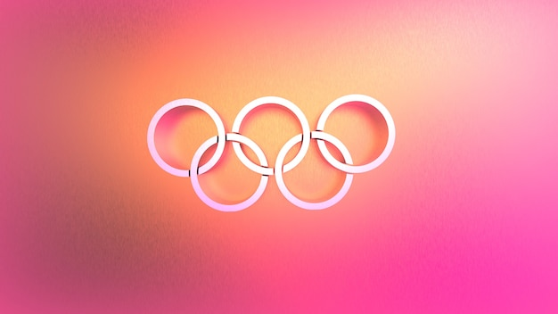 Rendering 3d di cerchi collegati astratti su uno sfondo rosa