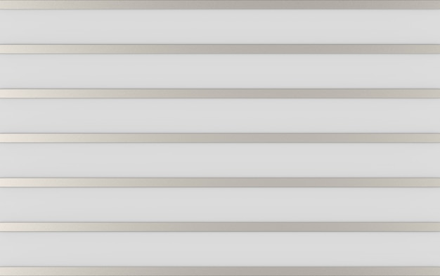 3d rendering. abstract long metal silver bars row on gray wall background.