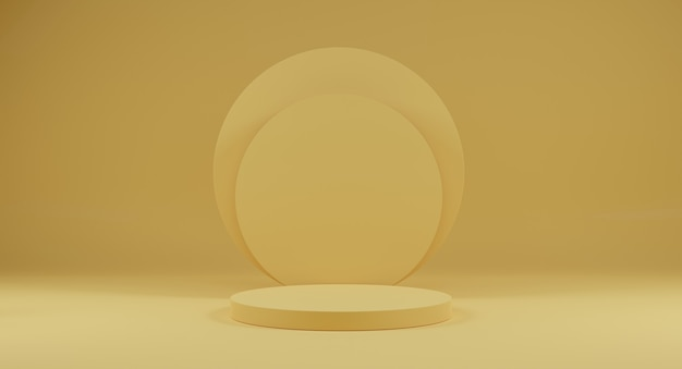 3dレンダリング。抽象的な最小限の背景。広告、化粧品広告、ショーケース、バナーの黄色の表彰台シーン。