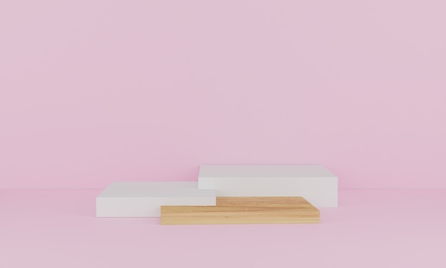 3d rendering. abstract minimal scene with geometric. wood podium on pink background. pedestal or platform for display, product presentation, mock up, show cosmetic product