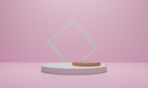 3dレンダリング。幾何学的な抽象的な最小限のシーン。ピンク色の背景に木製の表彰台。化粧品展示シーン。