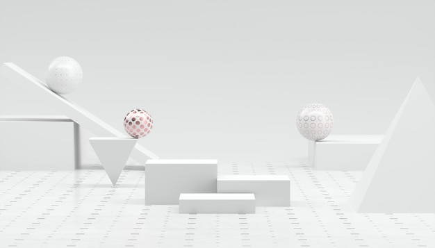 3d rendering abstract minimal white showcase