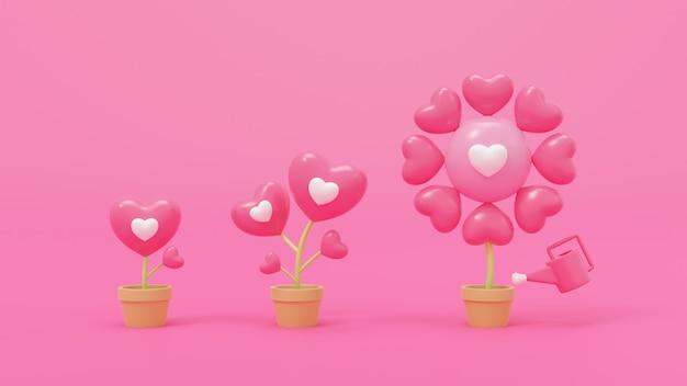 3d-рендеринг, абстрактные модели, символические растения-валентинки, растут в коричневых блестящих горшках, для любви, свадьбы, дня святого валентина, годовщины.