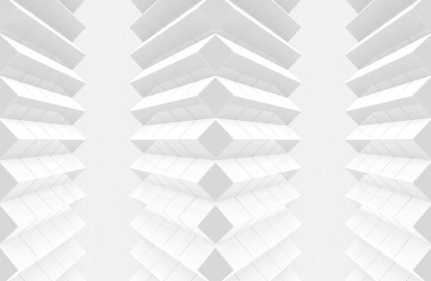 3dレンダリング。抽象的な現代アートパターンホワイトキューブボックスの壁。