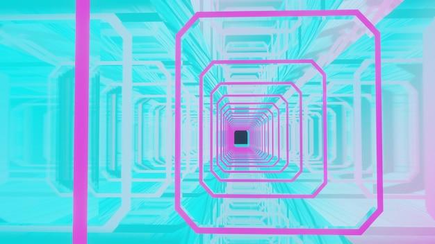 3dレンダリング抽象的な八角形のトンネルの図