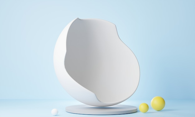 3d rendering abstract oval white stand on light blue background