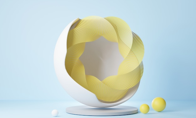 3d rendering abstract oval yellow stand on light blue background