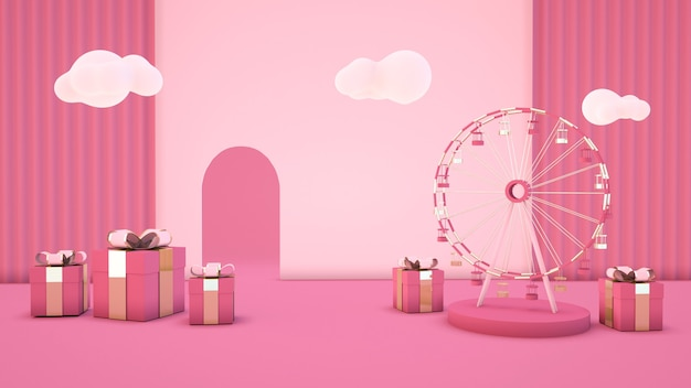 3d rendering of abstract pink background with gift box