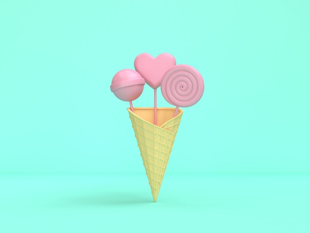 3d rendering abstract pink candy ice cream cone