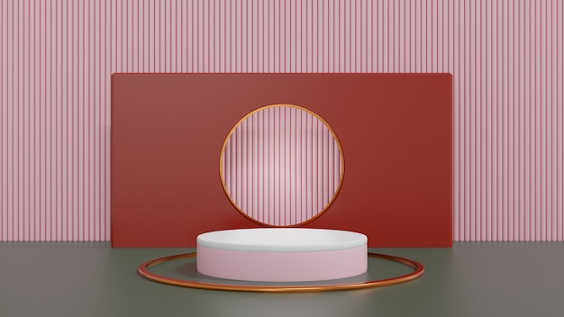 3dレンダリング抽象プラットフォームシリンダー白とピンクのディスプレイ製品バナー販売プレゼンテーション化粧品店の最小限のデザインショーケースとプロモーションの割引3dレンダリングイラスト