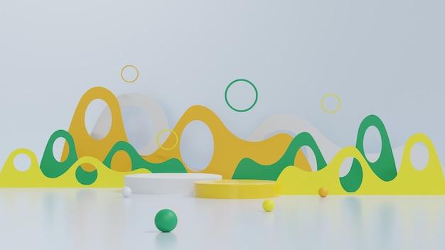 3dレンダリング抽象プラットフォームシリンダー白と黄色のディスプレイ製品バナー販売プレゼンテーション化粧品の最小限のデザインショーケースとプロモーションの割引3dレンダリングイラスト