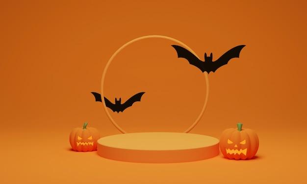 3d-рендеринг. абстрактный подиум минимальная сцена для фона хэллоуина. тыква с летучей мышью на пьедестале геометрической формы