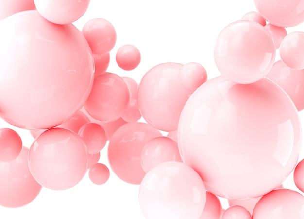 3dレンダリングの抽象的なリアルなボール、ピンクの泡。白い背景の上の動的な3d球