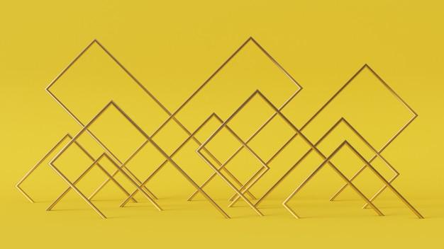 3d-рендеринг абстрактный прямоугольник золотого цвета на желтом фоне