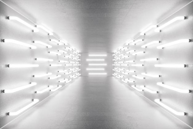 ネオンの明かりで3 dレンダリングの抽象的な部屋のインテリア。未来派の建築の背景。設計プロジェクトのモックアップ
