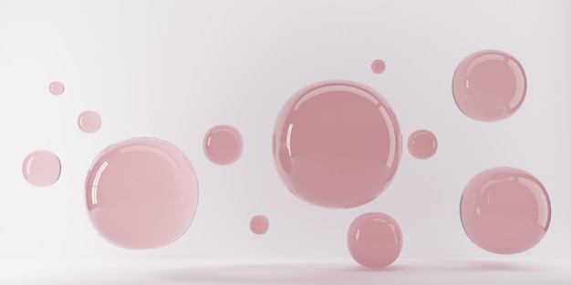3d rendering of abstract science fiction concept. group of spheres levitate. flying spheres in empty space, abstract bubbles. pink balls on pink background.