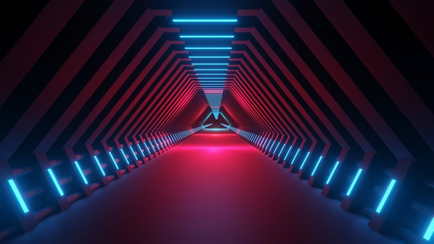 3d rendering abstract space sci-fi future corridor hallway
