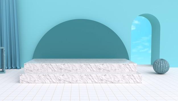 모형 디스플레이 대리석 연단 3d 렌더링 추상 무대 배경
