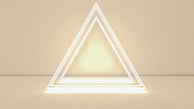 3d rendering of abstract triangle in neon light