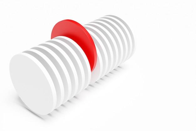 3dレンダリングセクションの1つが白い背景に赤である抽象的な白い円柱。