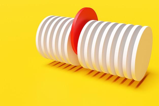 3dレンダリング黄色の背景に赤のセクションがある抽象的な白い円柱。白い丸いスパイラル。