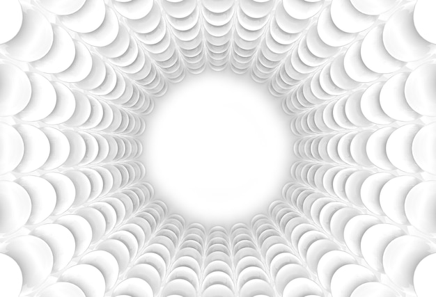 3dレンダリング。抽象的な白い球のトンネル壁の背景。