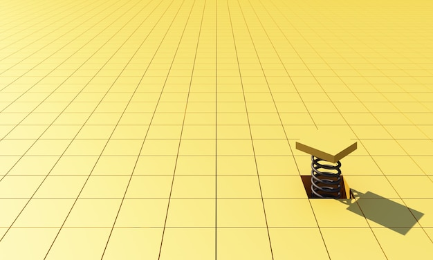 3dレンダリング抽象的な黄色の幾何学的な正方形の背景。柔らかな光と影の未来的な最小限の黄色の正方形のパターン